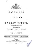 Catalogue of the Library of the Patent Office: Subjects