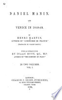 Daniel Manin  and Venice in 1848 49 Book