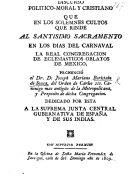 Discurso Politico-Moral y Cristiano, etc. [On loyalty to Spain.]