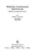 Molecular Luminescence Spectroscopy  Part 3 Book
