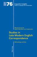 Studies in Late Modern English Correspondence: Methodology ...