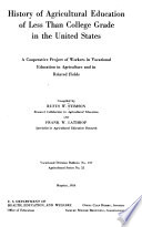 History Of Agricultural Education Of Less Than College Grade In The United States