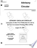Advisory Circular Checklist And Status Of Other Faa Publications