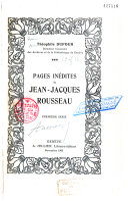 Pages inédites de J. J. Rousseau