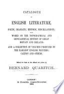 Catalogue of English Literature  Poetic  Dramatic  Historic  Miscellaneous