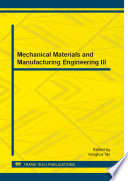 Mechanical Materials and Manufacturing Engineering III Book