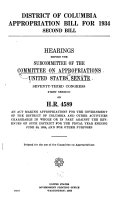Hearings Before The Subcommittee Of The Committee On Appropriations United States Senate Seventy Third Congress First Session On H R 4589