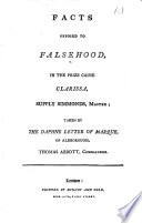 Facts Opposed to Falsehood  in the Prize Cause Clarissa  Supply Simmonds  Master  Taken by the Daphne Letter of Marque  of Aldborough  Thomas Abbott  Commander