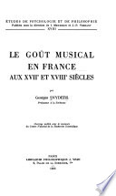 Le Goût musical en France aux XVIIe et XVIIIe siècles ...
