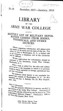 Monthly List of Military Information Carded from Books  Periodicals  and Other Sources