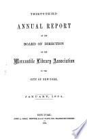 Annual Report Of The Board Of Directors Of The Mercantile Library Association Of The City Of New York