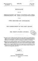 Message of the President of the United States Communicated to the Two Houses of Congress