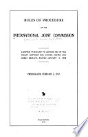 Rules of procedure of the International joint commission
