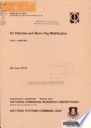 Air Pollution And Warm Fog Modification Book PDF