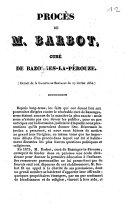 Procès de M. Barbot, curé de Bazonges-la-Pérouze