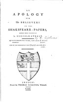 An Apology for the Believers in the Shakspeare papers