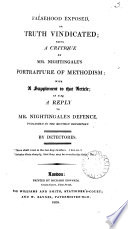 Falsehood Exposed Or Truth Vindicated A Critique On Mr Nightingale S Portraiture Of Methodism With A Suppl As Also A Reply To Mr Nightingale S Defence