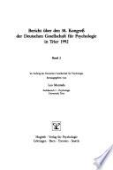 Bericht über den 38. Kongress der Deutschen Gesellschaft für Psychologie in Trier 1992