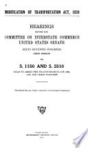 Modification of Transportation Act of 1920