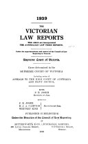 The Victorian Law Reports Book