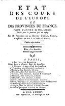 Etat des Cours de l'Europe et des Provinces de France pour l'année ...