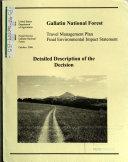 Gallatin National Forest  N F    Travel Management Plan