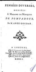Pensées diverses, ou réflexions sur différens sujets dans le goût de M. de La Bruyère