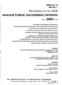 Proceedings of the ASME Manufacturing Engineering Division