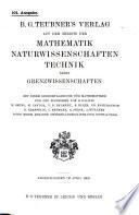 B. G. Teubner's verlag auf dem gebiete der mathematik naturwissenschaften technik nebst grezwissenschaften ...