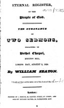 Eternal Register of the People of God. The Substance of Two Sermons, Preached in Bethel Chapel, Brixton Hill, Lord's Day, August 2, 1829