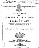Supplement to the Universal Catalogue of Books on Art