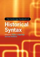 The Cambridge Handbook of Historical Syntax