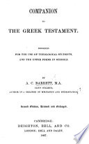 Companion to the Greek Testament     Second edition  revised and enlarged