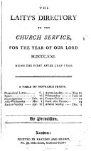 THE LAITY'S DIRECTORY TO THE CHURCH SERVICE FOR THE YEAR OF OUR LORD