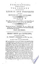 Publications Printed By Order Of The Society For Preserving Liberty And Property Against Republicans And Levellers