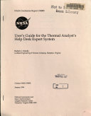 User s Guide for the Thermal Analyst s Help Desk Expert System