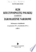Sejm Rzeczypospolitej Polskiej  : II kadencja ; Zgromadzenie Narodowe : informacja o działalności (14 października 1993 r.-20 października 1997 r.).