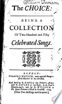 The Choice  Being a Collection of Two Hundred and Fifty Celebrated Songs Book