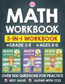 Math Workbook Practice Grade 3 5  Ages 8 11