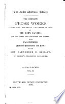 The Works in Verse and Prose (including Hitherto Unpublished MSS) of Sir John Davies