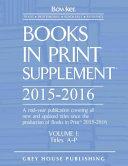 Books in Print Supplement   3 Volume Set  2015 16