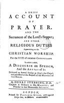 Pdf A Brief Account of Prayer, and the Sacrament of the Lord's Supper; and Other Religious Duties Appertaining to the Christian Worship
