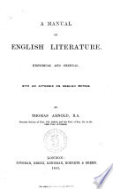 A Manual of English Literature Historical and Critical by Thomas Arnold Book