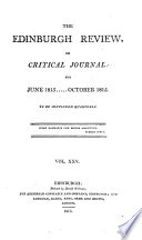 The Edinburgh Review  or Critical Journal  for June 1815     October 1815