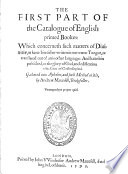 The Catalogue Of English Printed Books 1595