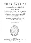 The Catalogue of English Printed Books, 1595