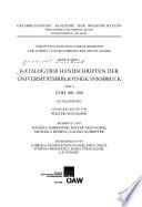 Katalog der Handschriften der Universitätsbibliothek Innsbruck