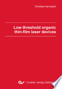 Low Threshold Organic Thin Film Laser Devices