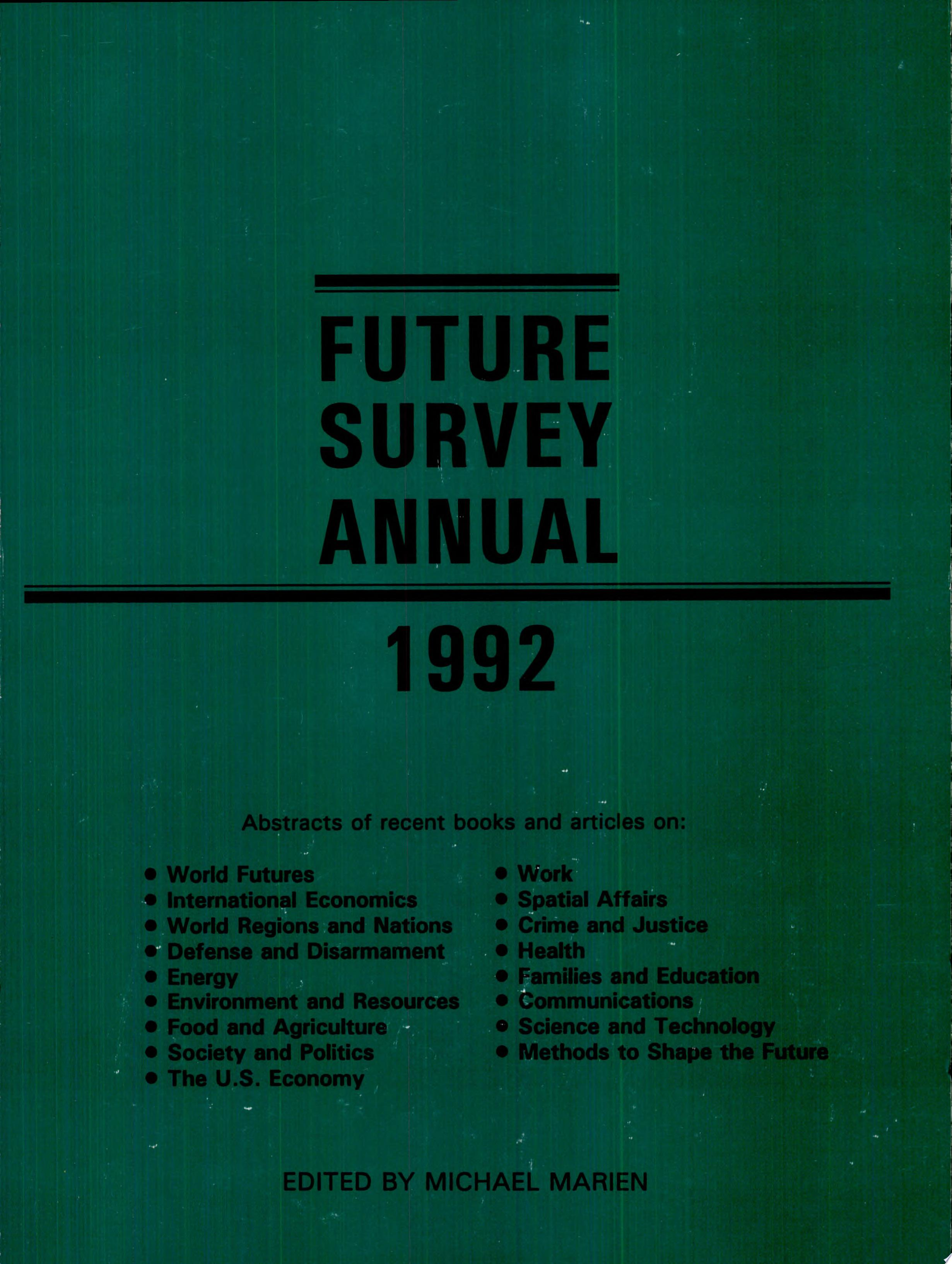Future Survey Annual 1992