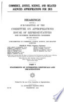 Commerce  Justice  Science  and Related Agencies Appropriations for 2015  Statements of interested individuals and organizations